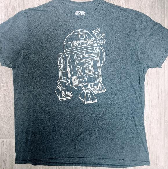 R2-D2 T Shirts Navy Blue Large Beep Boop Beep
